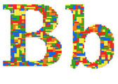 Letter B built from toy bricks in random colors — Stock Photo