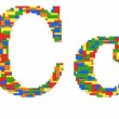 Letter C built from toy bricks in random colors — Stock Photo