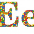 Letter E built from toy bricks in random colors — Stock Photo