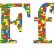 Letter F built from toy bricks in random colors — Stock Photo #32160069