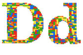 Letter D built from toy bricks in random colors — Stock Photo