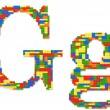 Letter G built from toy bricks in random colors — Stock Photo