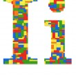 Letter I built from toy bricks in random colors — Stock Photo