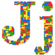 Letter J built from toy bricks in random colors — Stock Photo #32483697