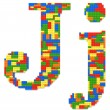 Letter J built from toy bricks in random colors — Stock Photo