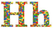 Letter H built from toy bricks in random colors — Stock Photo