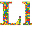 Letter L built from toy bricks in random colors — Stock Photo