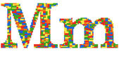 Letter M built from toy bricks in random colors — Stock Photo