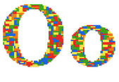 Letter O built from toy bricks in random colors — Stock Photo