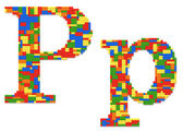 Letter P built from toy bricks in random colors — Stock Photo