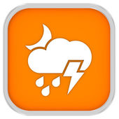 Cloudy at night with considerable amount of rain and with possibility of lightning sign — Stock Photo