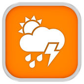 Mainly cloudy with considerable amount of rain and possibility of lightning sign — Stock Photo