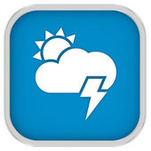 Parltly cloudy with possibility of lightning sign — Stock Photo