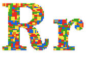 Letter R built from toy bricks in random colors — Stock Photo