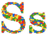 Letter S built from toy bricks in random colors — Stock Photo