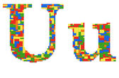 Letter U built from toy bricks in random colors — Stock Photo