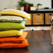 Home environment. Colorful pillows and dog. Soft focus. — Stock Photo #16353875