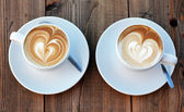 Two cups of coffee cappuccino — Stock Photo