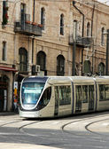 Modern tram in old Jerusalem — Stock Photo