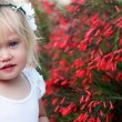 Portrait of lovely little baby girl with wreath on her head — Stock Photo