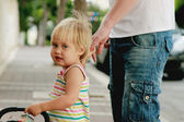 Happy father with adorable girl outdoor — Stock Photo