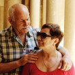 Portrait of a loving senior couple on vacation — Stock Photo