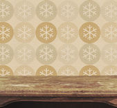 Background with vintage table and snowflake pattern — Stock Photo
