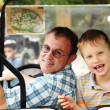Portrait of father and son outdoors — Stock Photo