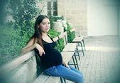 Beautiful pregnant woman outdoors — Stock Photo