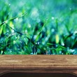 Empty table over bokeh natural background — Stock Photo