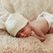 Funny sleeping newborn baby — Stock Photo #39901347