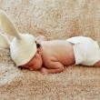Funny sleeping newborn baby — Stock Photo #39901527