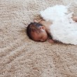 Little naked newborn baby sleeping with angel wings — Stock Photo #39901685