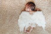 Little naked newborn baby sleeping with angel wings — Stock fotografie