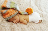 Portrait of newborn sleeping baby — Stock Photo