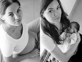 Collage of beautiful pregnant girl and girl with her newborn bab — Stock Photo