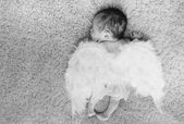 Little naked newborn baby sleeping with angel wings — Φωτογραφία Αρχείου