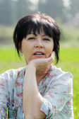 Woman over countryside landscape — 图库照片