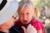 Angry upset girl with father — Stock Photo