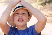 Outdoors portrait of cute 6 years old boy — Stock Photo