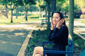 Woman with Headphones Outdoors — Foto Stock