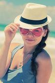 Woman at  seaside — Stock Photo