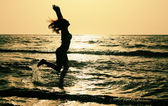 Woman on the seaside — Stock Photo