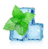 Three ice cubes and mint — Stock Photo