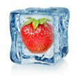 Stock Photo: Ice cube and strawberry