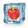 Ice cube and strawberry - Stock Photo