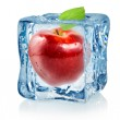 Ice cube and red apple — Stock Photo