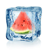 Ice cube and watermelon — Stock Photo