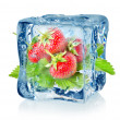 Ice cube and strawberry isolated — Stock Photo #15326021