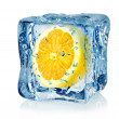 Stock Photo: Ice cube and lemon